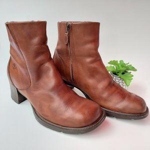 Timberland Alyse Cognac Brown Leather Zip Booties